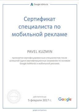 Сертификат Кузьмин Павел