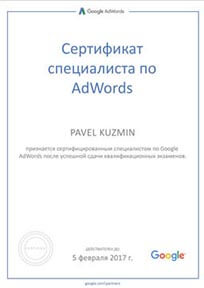 Сертификат Google Кузьмин